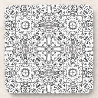 Black and White Mandala Pattern Coaster Set