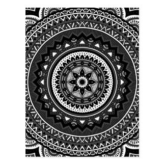 Black and white mandala postcard