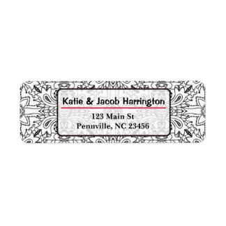 Black and White Mandala Return Address La Return Address Label