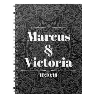 Black and white mandala wedding notebook