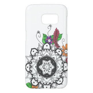 Black and White Mandala with Colorful Flowers