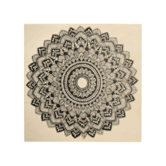 Black and White Mandala Wood Wall Decor