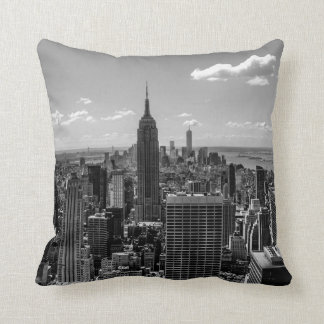 Black and White Manhattan Skyline Landscape Cushion