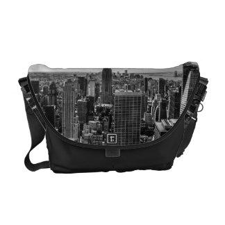 Black and White Manhattan Skyline Landscape Courier Bag