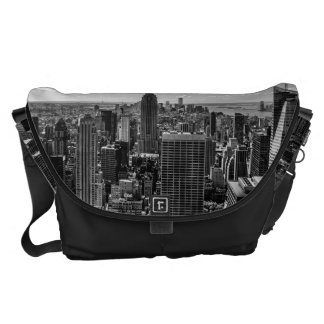 Black and White Manhattan Skyline Landscape Courier Bags
