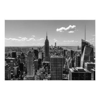 Black and White Manhattan Skyline Landscape Photo Art