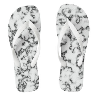 Black and white marble background flip flops