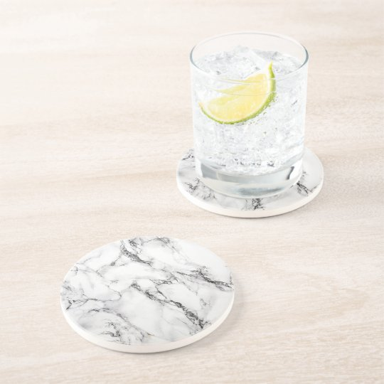 black and white marble coaster