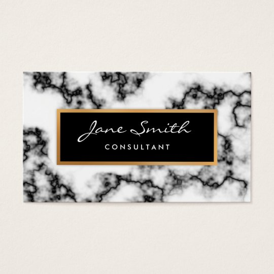 Black and White Marble, Faux Gold Foil Business