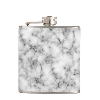 Black and White Marble Finish Hip Flask
