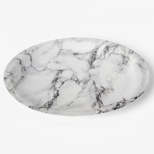 black and white marble look paper plate