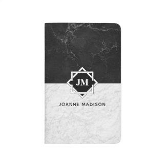Black and White Marble Monogram Journal