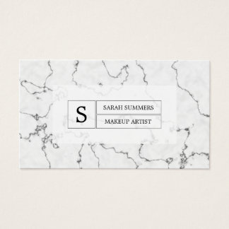 Black and White Marble Pattern Monogram Business Card