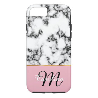 Black and White Marble, Pink,  Name and Monogram iPhone 8/7 Case