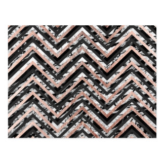 Black and White Marble Rose Gold Chevron Zigzag Postcard