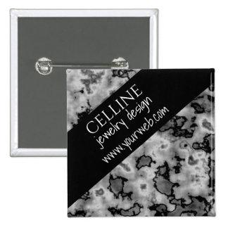 Black and White Marble Slanted Edge 15 Cm Square Badge