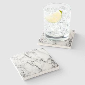 black and white marble stone beverage coaster