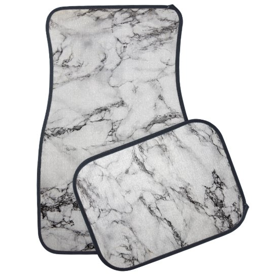 black and white marble stone car mat