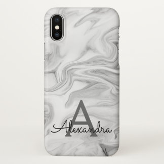 Black and White Marble Stone Monogram iPhone X Case