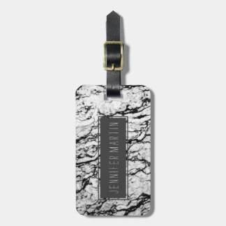Black and White Marble Stone Pattern Luggage Tag