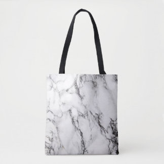 black and white marble stone tote bag