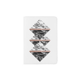 Black and White Marble Triangles and Rose Gold Passport Holder