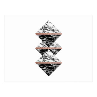 Black and White Marble Triangles and Rose Gold Postcard