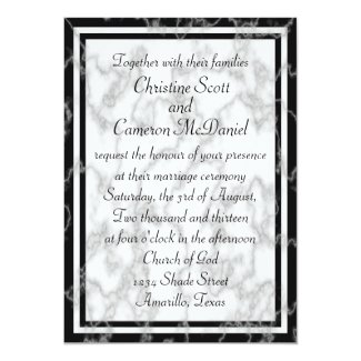 Black and White Marble Wedding Invitation