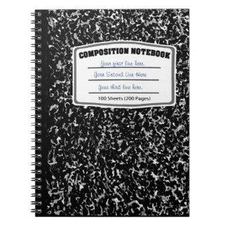 Black and white marbled print composition spiral note books