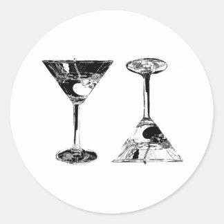 Black and White MartinisPop Art Round Stickers