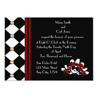 Black and White Masquerade 13 Cm X 18 Cm Invitation Card