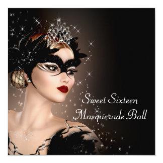 Black and White Masquerade Party 13 Cm X 13 Cm Square Invitation Card