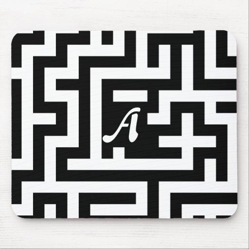 Black and White Maze Monogram Mouse Pad