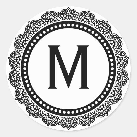 Black And White Medallion Custom Initial Classic Round Sticker