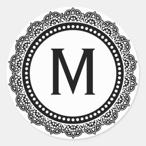 Black And White Medallion Custom Initial Round Sticker