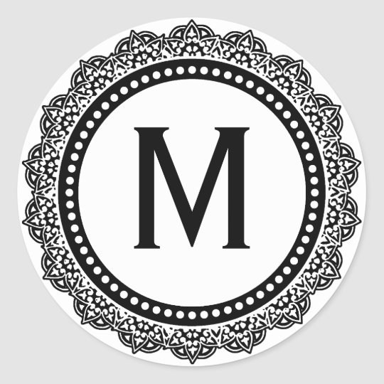 Black And White Medallion Custom Initial Round Sticker
