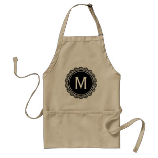 Black And White Medallion Custom Initial Standard Apron