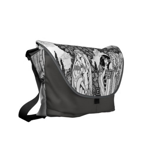 Black And White Medieval Fashions Courier Bags