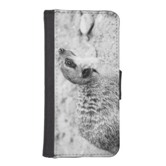 Black and White Meerkat, Animal Photography iPhone 5 Wallet Cases