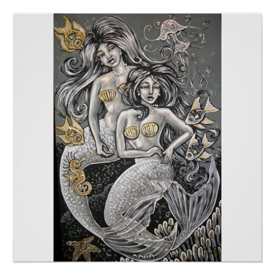 black and white mermaid girlfriends poster
