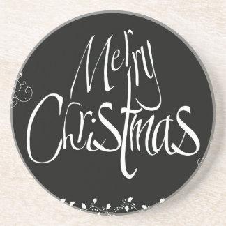 Black and White Merry Christmas Coaster