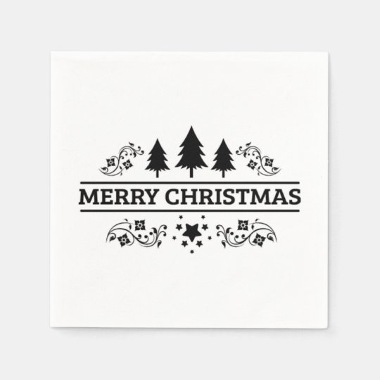 Black And White Merry Christmas Disposable Serviette
