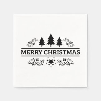 Black And White Merry Christmas Paper Napkins