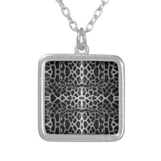 Black and white mesh pattern silver plated necklace
