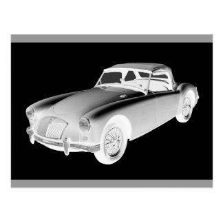 Black and White MG Convertible Sports Car Post Cards
