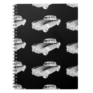 Black and White MG Convertible Sports Car Spiral Note Book