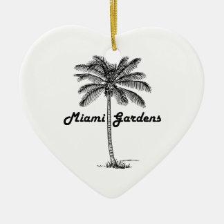 Black and White Miami Gardens & Palm design Christmas Ornament