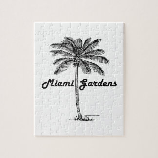 Black and White Miami Gardens & Palm design Jigsaw Puzzle