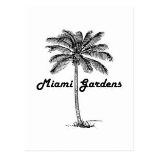 Black and White Miami Gardens & Palm design Postcard