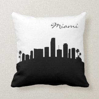Black and White Miami Skyline Cushion